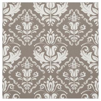 Vintage Ivory Taupe Damask Stylish Pattern Fabric