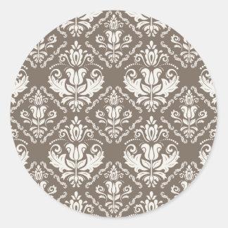 Vintage Ivory Taupe Damask Stylish Pattern Round Sticker