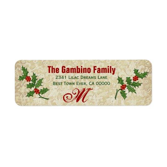 Vintage Ivy Christmas Holly Monogram Return Address Label
