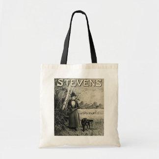 Vintage J Stevens Victorian Lady Gun Ad Tote Bag