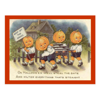 Vintage Jack o' Lantern Boys Steeling Gate Postcard