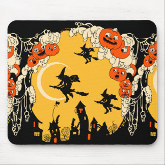 Vintage Jack o' Lanturns and Flying Witches Mouse Pad