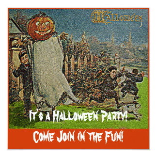 Vintage Jack o'Lantern Scarecrow and Boys 13 Cm X 13 Cm Square Invitation Card