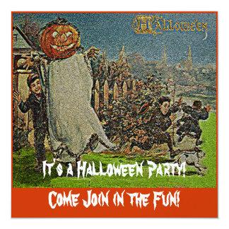 Vintage Jack o'Lantern Scarecrow and Boys 13 Cm X 13 Cm Square Invitation Card