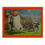 Vintage Jack o'Lantern Scarecrow and Boys Post Card