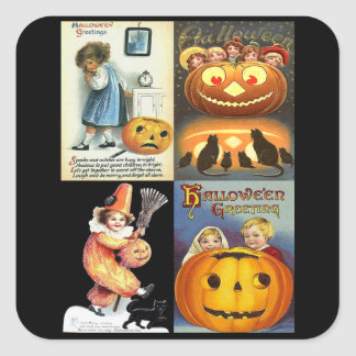 Vintage Jack o'Lantern with Kids Montage Square Sticker