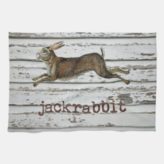 Vintage Jack Rabbit Hare Illustration Cabin Decor Tea Towel