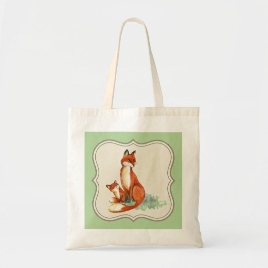 Vintage jackal illustration tote bag, light green