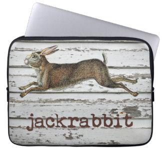 Vintage Jackrabbit Hare Illustration White Wood Laptop Sleeve