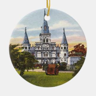 Vintage Jackson Square New Orleans Christmas Ornament