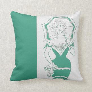 Vintage Jade Pinup Woman Swimsuit Parasol Stanlaws Throw Cushion