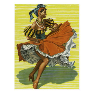Vintage Jamaican Dancer Design Postcard