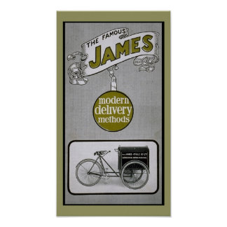 Vintage James 1913 Delivery Bicycle Poster
