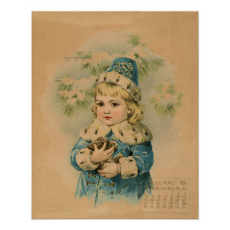 Vintage January 1891 beautiful children drawing Poster