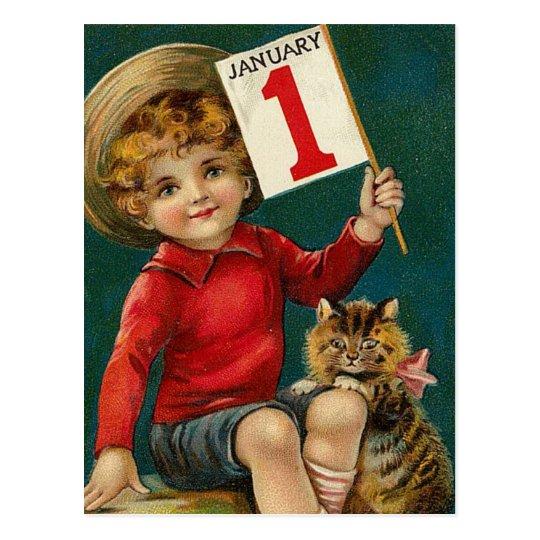 Vintage January 1st Postcard