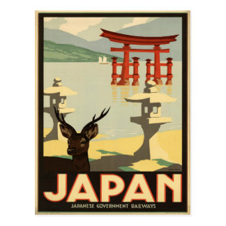 Vintage Japan Sika Deer,Torii Gate Travel Postcard
