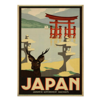 Vintage Japan Sika Deer,Torii Gate Travel Poster