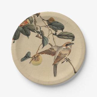Vintage Japanese Art Bird in Tree 7 Inch Paper Plate
