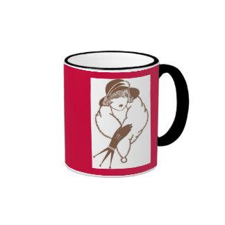 Vintage Japanese Art Deco Lady, 1933 Ringer Mug