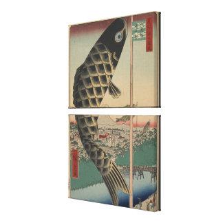 Vintage Japanese Art Image - Flying Carp Canvas Stretched Canvas Print