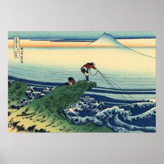 Vintage Japanese Art Kajikazawa Fisherman Poster