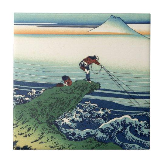 Vintage Japanese Art Kajikazawa Fisherman Tile