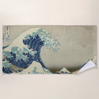 Vintage Japanese Art, The Great Wave by Hokusai Beach Towel