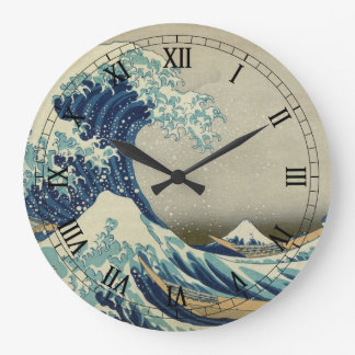 Vintage Japanese Art, The Great Wave by Hokusai Clock