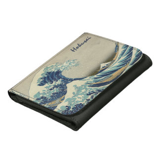 Vintage Japanese Art, The Great Wave by Hokusai Leather Trifold Wallet