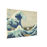 Vintage Japanese Art, The Great Wave by Hokusai Stretched Canvas Print