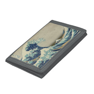 Vintage Japanese Art, The Great Wave by Hokusai Tri-fold Wallets