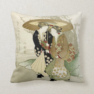 Vintage Japanese Art Throw Pillow Cushion