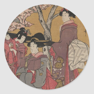 Vintage  Japanese Art tickers Classic Round Sticker