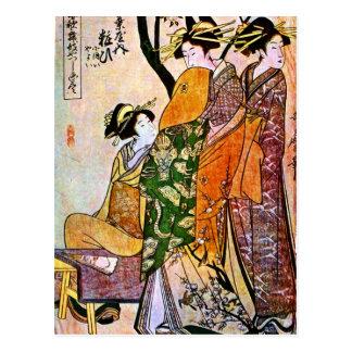 Vintage Japanese Artwork Featuring Geisha Postcard