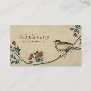 Vintage tree business cards business card printing zazzle uk vintage japanese bird and blossom art business card reheart Gallery