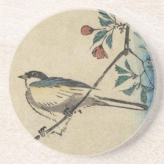 Vintage Japanese Bird and Blossom Art Coaster