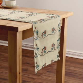 Vintage Japanese Blossom Art Short Table Runner