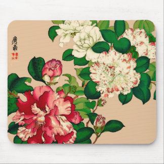 Vintage Japanese Camellias. Deep Pink on Beige Mouse Pad