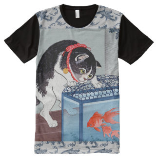 Vintage Japanese Cat and Fish Art Wave T-Shirt