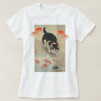 Vintage Japanese Cat and Goldfish Art T-Shirt