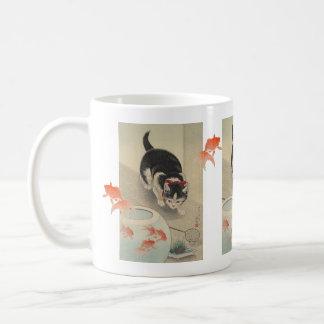 Vintage Japanese Cat and Goldfish Bowl Art Coffee Mug