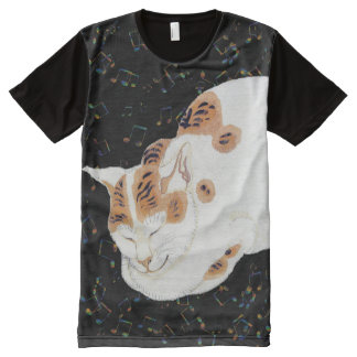 Vintage Japanese Cat and Music Art Tee All-Over Print T-Shirt