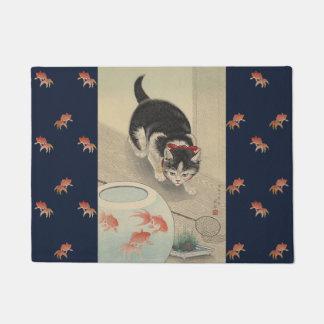 Vintage Japanese Cat Hunting Goldfish Art Doormat