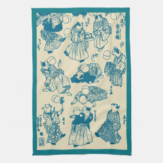 Vintage Japanese Cat Jugglers Art Tea Towel