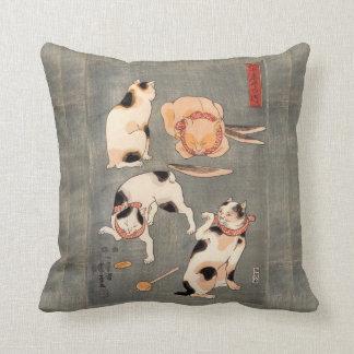 Vintage Japanese Cat Poses Cushion