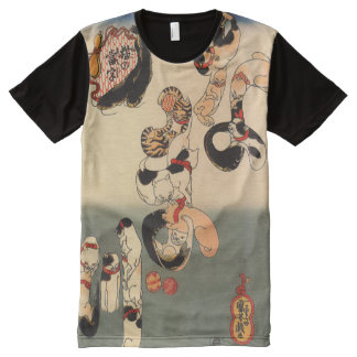 Vintage Japanese Catfish Cats Art All-Over Print T-Shirt