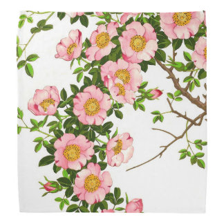 Vintage Japanese Cherry Blossoms, Pink and Gold Bandana