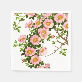 Vintage Japanese Cherry Blossoms, Pink and Gold Paper Napkin