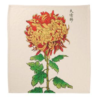 Vintage Japanese Chrysanthemum. Gold and Orange Bandana