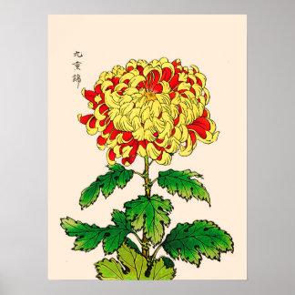 Vintage Japanese Chrysanthemum. Mustard Yellow Poster
